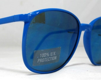 Vintage 80s Large Blue Sunglasses with Blue Lenses