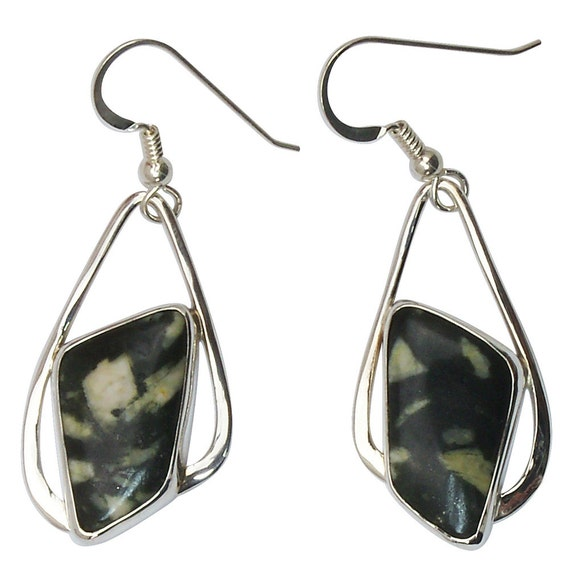 Chinese Writing Stone dangle earrings set in Sterling Silver  ecswe2681