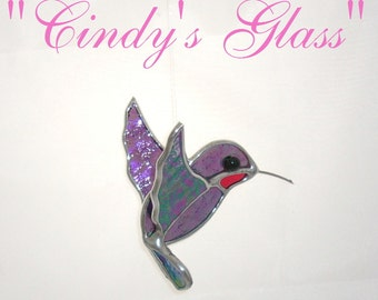 Hummingbird Clear Violet Iridescent Stained Glass 3D Suncatcher silver finish or copper finish