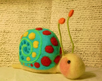 Suzy the snail soft lovable wool felted friend