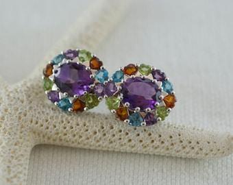 Gemstone Amethyst Blue Topaz Citrine Smokey Topaz Oval Sterling Silver Cluster Post Style Pierced Earrings  .....4076