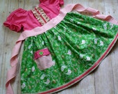 Easter Dress,Girls Clothing,Girls Dress,Spring Dress,,Special Occasion,Peasant Dress,Pink,Green,Birds,Sizes 12MO,18MO,2T,3T,4T,5T,6,7,8