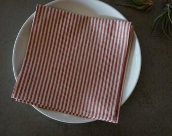organic cloth napkins, organic cotton and hemp, set of 2, red stripes, everyday napkins, eco-friendly, re-usable, red cloth napkins, modern