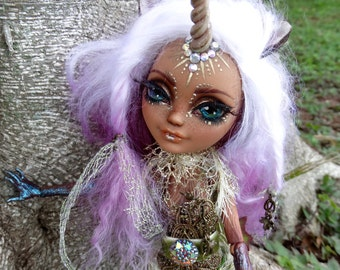 Willow the Woodland Unicorn Custom Doll with Butterfly Forest Stand