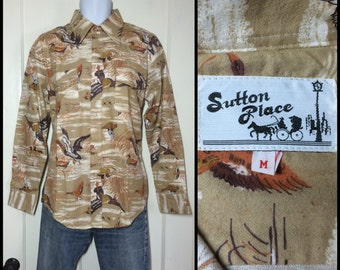 Deadstock Vintage 1970's Bird Duck scene print Flannel Shirt size Medium NOS all cotton Tan brown geese nature scene