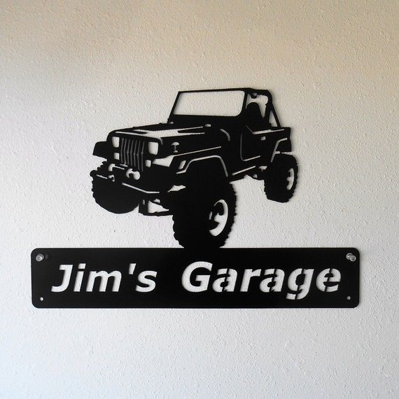 Personalized Man Cave Jeep YJ Wrangler Garage Sign Satin Black