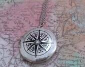 Compass Locket Necklace, Compass Locket, Wanderlust Necklace, Silver Compass, Nautical Locket, Lost at Sea Necklace, Long Locket Necklace