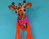 Giraffe head. Faux taxidermy. Safari animal. Trophy head. Felt creature. Wall mount. Hoop art. Kids room decor. Quirky novelty gift. Large.