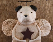 American Bulldog Angel, OOAK, Hand-sculpted from Paper Mache, Bullie Angel