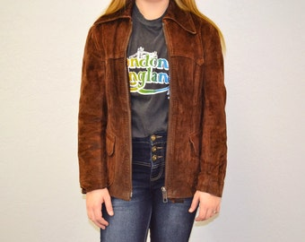 Suede jacket brown leather bomber hipster indie 80s zip up jacket autumn small medium causal vintage coat rocker rock and roll bomber vtg