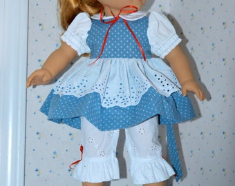 18 Inch Doll Blue Dress with Double Skirt and White Eyelet Ruffled Capri Length Pants by SEWSWEETDAISY