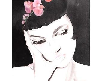 Fashion Illustration Print,  Watercolour painting print, Fashion Illustration, Fashion art, Fashion gift, Fashion wall art, Chinese orchids