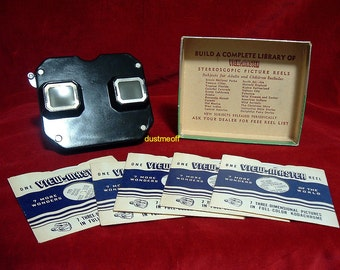 Vintage Bakelite VIEW-MASTER STEREOSCOPE with 5 western reels cowboys and Native Americans