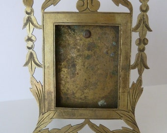 Antique French Brass Photo Frame, Unique Rare Pierced and Engraved Solid Brass
