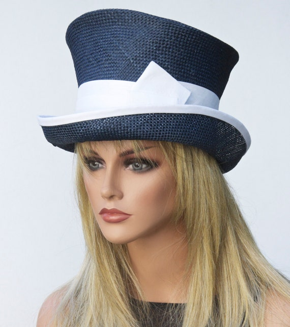 s navy formal hat straw top hat mad hatter navy