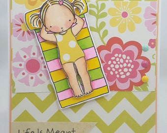 Summertime Relaxing Girl Blank NoteCard, Greetings Card, Handmade Card