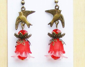 Red and Bronze bird Earrings