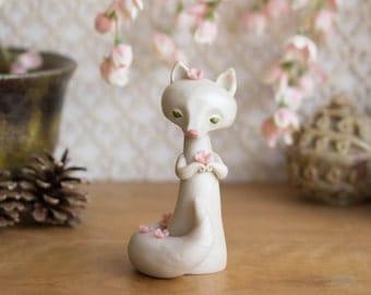 White Fox with Cherry Blossoms - Sakura Kitsune by Bonjour Poupette