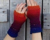 Fire FAIRY Hand Knit Fingerless Vegan Gloves in mustard yellow, burnt orange, burgundy red, purple and indigo blue.