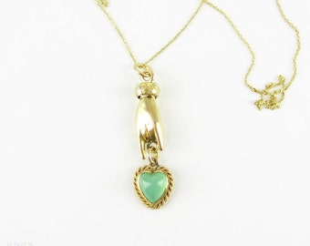 Antique Hand Charm with Chalcedony Love Heart, 18 Carat Gold Victorian Pendant.