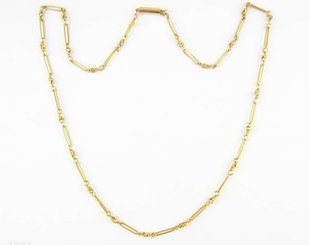 Antique 9 Carat Gold Chain, Fancy Link Oval Shape Trombone Links. Early 20th Century, 44 cm / 17.33 inches.
