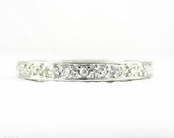 Antique Platinum Diamond Eternity Ring, Diamond Full Hoop Wedding Ring, 0.30 ctw Bead Set Diamonds in Platinum. Circa 1900s, Size L.5 / 6.