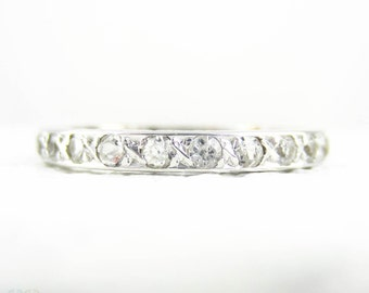 White Spinel Eternity Ring, Vintage Synthetic Pave Set Spinels. 9 Carat White Gold Wedding Ring, Circa 1940s, Size O.5 / 7.5.