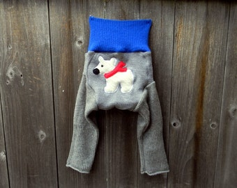 SMALL Upcycled Wool /Cashmere Longies Soaker Cover Diaper Cover With Added Doubler Gray/ Blue With Polar Bear Applique SMALL 3-6M