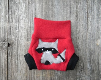Upcycled Wool Soaker Cover Diaper Cover With Added Doubler Red  / Black  With Sneaky Raccoon  Applique NEWBORN 0-3M