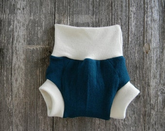 Upcycled Wool And Organic Merino Wool Interlock Soaker Cover Diaper Cover With Added Doubler Teal SMALL 3-6M