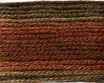 Cosmo, 6 Strand Cotton Floss, SE80-8041, Seasons Variegated Embroidery Thread, Browns/Rusts, Wool Applique, Cross Stitch, Embroidery