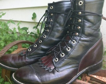 Vtg unisex oxblood and black leather lace up boho bohemian Western double fringe gypsy Justin boots
