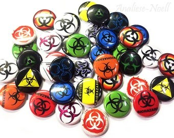 "Biohazard, 1"" Button, Biohazard Pin, Biohazard Button, Biohazard Pinback, Biohazard Flatback, Biohazard Party, Zombie, Biohazard Theme, Pins"