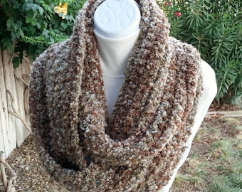 Large Bulky Lightweight Winter Infinity Scarf Loop Cowl, Beige Brown Tan, OOAK Striped Crochet Knit Boucle, Big Neck Warmer, Ready to Ship