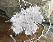 Silver Maple Leaf Necklace Sterling Silver Genuine Maple Leaf Pendant Necklace Botanical Nature Necklace Autumn Harvest Fall Fashion