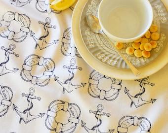 Tea Towel -  Kitchen Towels - Screen Print Tea Towel - Flour Sack Towels - Tea Towel Set - Tea Towel Flour Sack - Towels - Nautical Towels