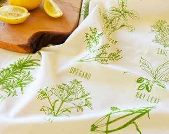 Tea Towel - Flour Sack Tea Towel - Tea Towel Set - Kitchen Towels - Dish Towels - Screenprint Tea Towels - Screen Printed Tea Towels - Herbs