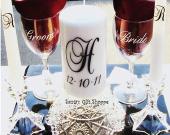 Unity Candle Decal Set - (1 Monogram Initial Decal/1 Date/2 Initial Decals for Taper Candles) - CANDLES NOT INCLUDED-Wedding - Bridal Shower