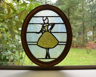 Stained Glass Ballerina in Amber - w Decorative Frame
