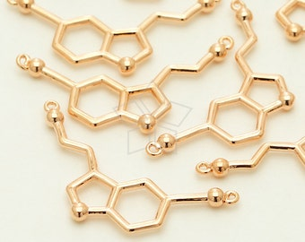PD-1238-RG / 2 Pcs - Serotonin Molecule Pendant, Chemistry Necklace, Rose Gold Silver Plated over Brass / 27mm x 14mm