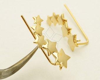 EA-171-GD / 2 Pcs - Five Stars Ear Cuffs Hook Earrings, Ear Climbers, 16K Gold Plated over Brass / 20mm