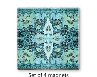Bohemian magnets, fridge magnet set, refrigerator magnets, set of 4 decorative magnets, boho decor, large magnets, aqua magnets