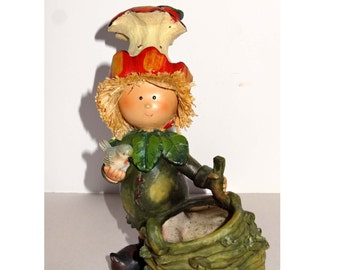 Apple Core Hat Girl Planter Made of Resin Home and Garden Lawn and Garden Gardening Pots and Planters