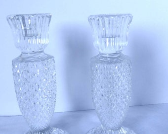 Crystal Pair of Candle Holders Set of 2 Home and Garden Decor Candle Holders