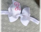 Tutu Chic Monogram Hair bow Headband Initial Hair bow White bow headband Baby Hair bow Valentines Hair bow Monogram Baby Headband