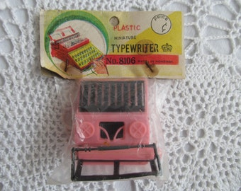 Vintage Dime Store Toy Typewriter Miniature Pink Small Tiny Plastic Hong Kong Mini