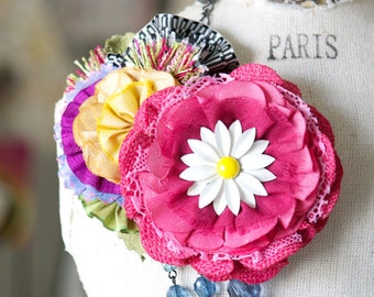 Hot Pink Fabric Flower Pin, Gifts for Her, Colorful Fabric Flowers, Gift for Teen Girl, Hat Pin, Scarf Pin, Rainbow Pin, Wedding Brooch