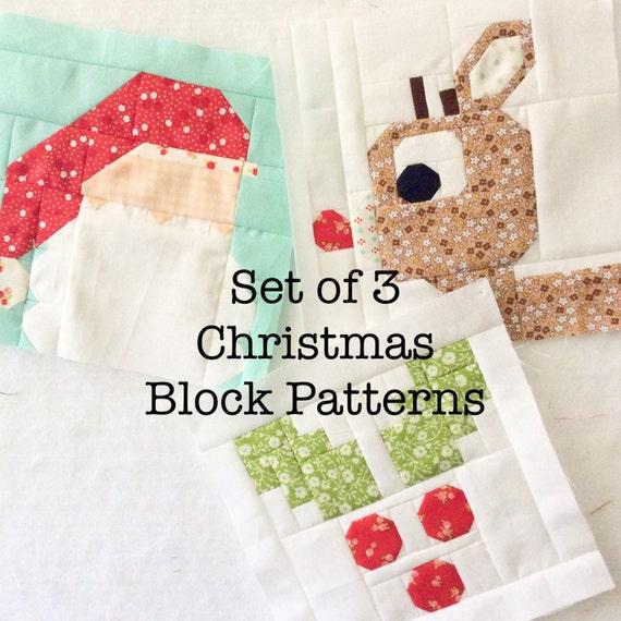Set of 3 Christmas Quilt Block Patterns Rudolph Holly Jolly : christmas quilt block - Adamdwight.com
