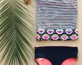 Reversible swimwear bottoms bikini bottom coral and navy blue bikini bottoms ready to ship