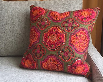 Vintage Fabric Pillow Cover - Printed Cotton - Orange and Pink Medallions, Spanish Baroque Boho California Hacienda 1960s Decorative